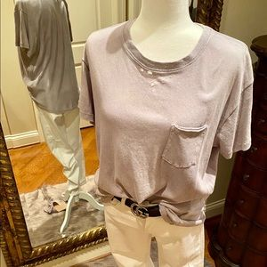 Free People Lilac Distressed T-shirt